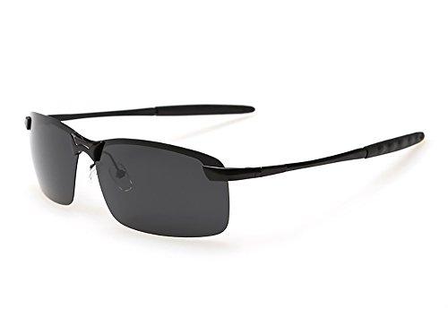 EliBella Metallrahmen Sonnenbrille für Herren und Damens Auto Fahren Baseball Angeln Golf Running Radfahren Softball Wandern EL 3043 (Black, 65)