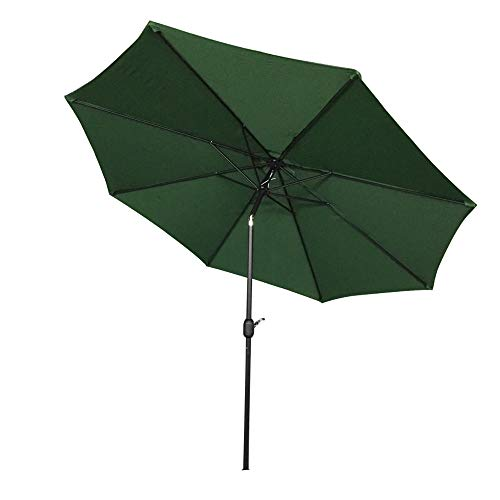 AUFUN Sonnenschirm neigbar 300cm mit kurbel UV Schutz 40+ - Grün Alu Balkon Terrassenschirm Marktschirm Gartenschirm (Grün)