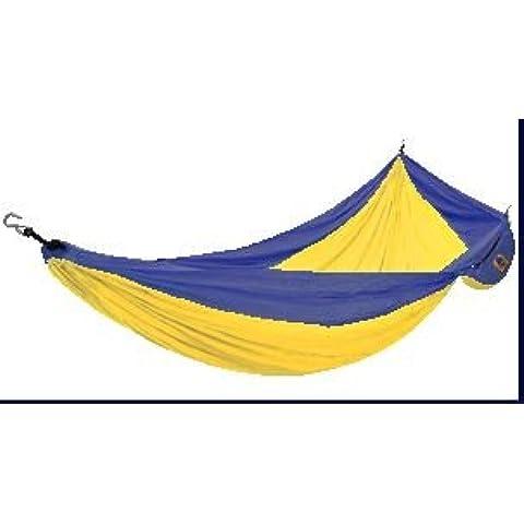 La famosa seda de paracaídas hamaca (individual Tamaño–290cm x 160cm) (azul y amarillo color) por boleto a la luna
