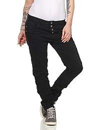 KAROSTAR Chino Jeans Baggy Damen Hose Boyfriend Hüfthose mit Seitenstreifen  24 6408396a81