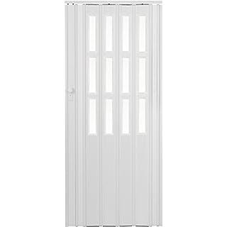 Falttür Schiebetür weiss farben mit Schloß - Schlüssel und Fenster Höhe 203 cm Einbaubreite bis 115 cm Doppelwandprofil Neu
