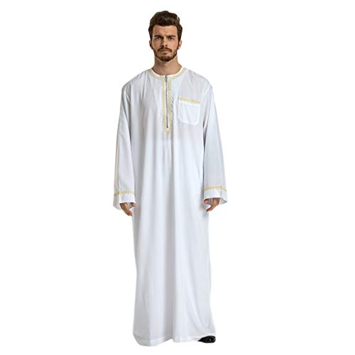 Muslimische Robe Männer PANPANY, Men's Robe Arabic Muslimische Kleidung Herren Thobe mit Langen Ärmeln Arabisch Muslim Wear Dubai Thobe Daffah Sultan Saudi Roben Nahen Osten Traditionelle Kostüm (Muslim Kostüme Für Männer)
