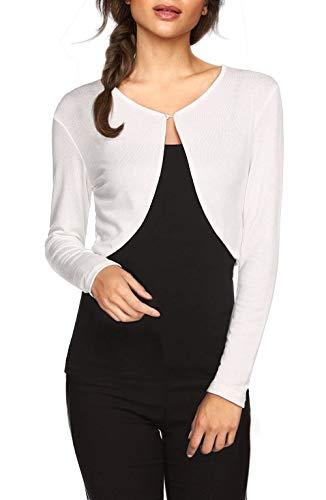 Weiße Langarm-top (TrendiMax Damen Lässig Bolero Jacke Kurz Cardigans Strickjacke Schulterjacke Leichtes Langarm Top, Weiß, L)