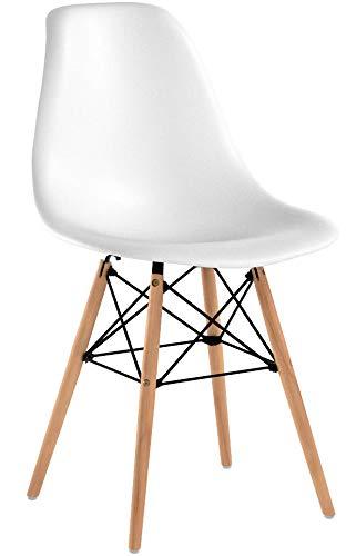 Pack de 4 Eames Style Chair- Mid Century Modern - Silla Eames Moldeada con Patas Eiffel de Madera de Dowel...