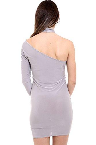 Janisramone Damen Bodycon-Kleid Kleid, Einfarbig schwarz * Einheitsgröße Silbergrau