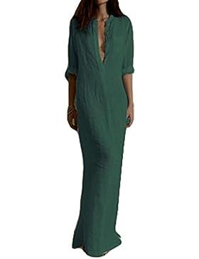 Donna Vestito Lungo Maxi Scollo a V e maniche lunghe vestito Cotone Lino lunga Casual Colore Puro Abito S - XL