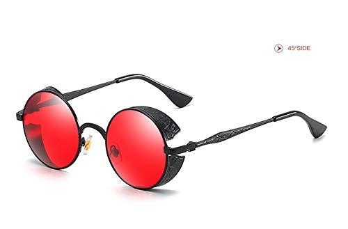WSKPE Sonnenbrille,Runden Rahmen Abgeschrägten Sonnenbrille Metall Muster Gläser Gestell Schwarz Gestell,Rote Linse -