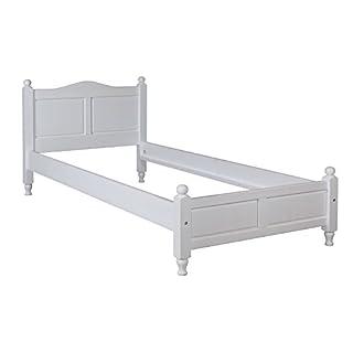 abritus Bett Holzbett Einzelbett DIMO 90 x 200 Kiefer massiv weiß lackiert