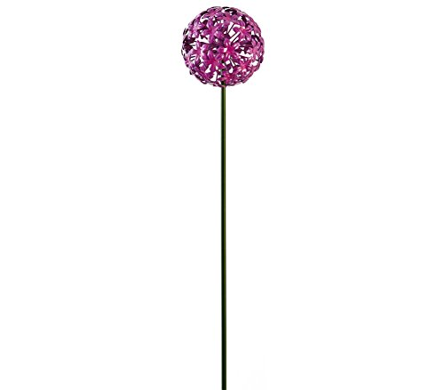 Dehner Gartenstab Allium, ca. 110 x 14 cm, Metall, lila/schwarz