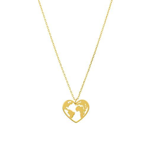 HOKULANI - Welt Halskette | Herz Anhänger | Herz Weltkarte | mit Anhänger in Herzform | Weltkugel | Damen Kette in Rosegold, Gold oder Silber| Edelstahl | Wanderlust | (Gold)