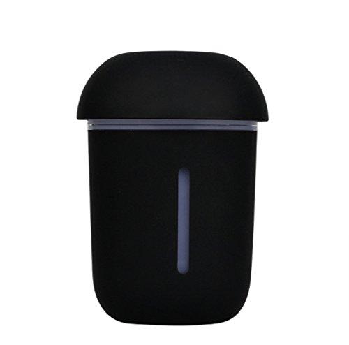 Humidificador Ultrasónico Ambientador Con Luz Nocturna Se Apaga Automáticamente Interfaz De Carga USB 200Ml Para Hogar Oficina Bebes Dormitorio Ninos Purificar El Aire Y Mejorara El Aire Seco,Black