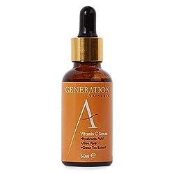 Generation Skincare Vitamin C Serum Hyaluronsäure Vitamin E - Beste Grundierung für Ihr Gesicht - Natürliche Anti Aging - Anti-Falten - Entfernt Aknenarben, feine Linien + Hydrate für Haut