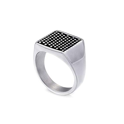 KnBoB Titanstahl Herren Herren Silber Signet Ring Größe 65 (20.7)