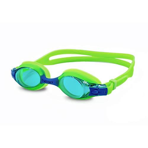 VETOKY Kinder Schwimmbrille, Antibeschlag Schwimmbrillen UV Schutz Kristallklare Sicht kein Auslaufen für Mädchen und Jungen Altersgruppen 3-10 Jahre Grün