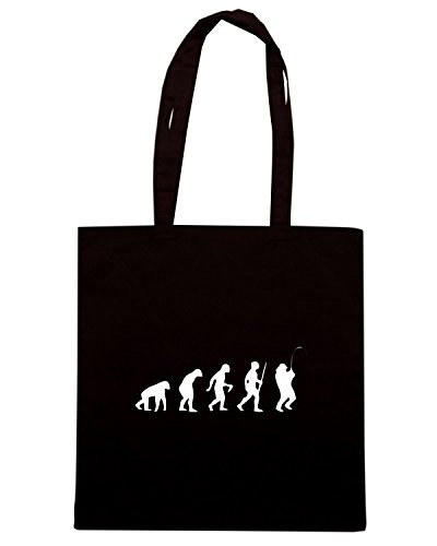 T-Shirtshock - Borsa Shopping EVO0015 Fishing Evolution Humor Maglietta Nero