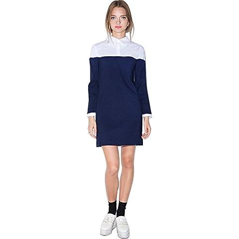 Sexy Collare Punteggiato Pois Dot Blu Bianco Blocco di Colore Mini Corti Corto Shift Shirt Camicia Chemisier Vestito Abito
