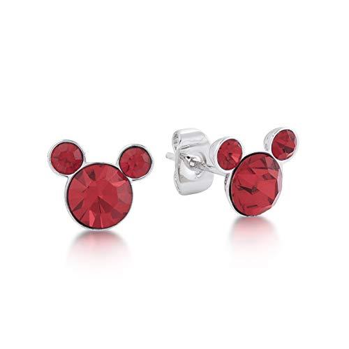 Disney mickey mouse luglio rubino cristallo swarovski pietra di nascita orecchini