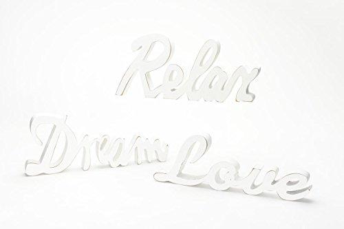 levandeo 3er Set Schriftzug Buchstabenset aus Holz Relax Love und Dream - Aufsteller Buchstaben Bild Dekoration Deko shabby Landhausstil