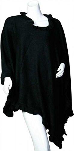 PONCHO in schlichter Eleganz für Damen, schwarz Schwarz