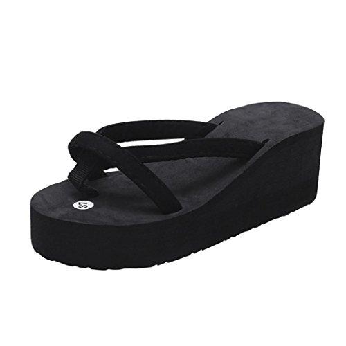 VJGOAL Damen Sandalen, Damen Mädchen Frau Geschenk Sommer Mode Slipper Flip Flops Strand Keil Dicke Sohle Stöckelschuhe (38 EU, Schwarz)