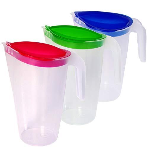 Home Line Saftkanne 1,75 L - Wasserkanne mit festsitzendem Deckel - Getränkekanne mit tropffreiem Außgieser - Wasserkaraffe Kühlschrankkrug Saftspender (3er Set (blau, grün, rot))