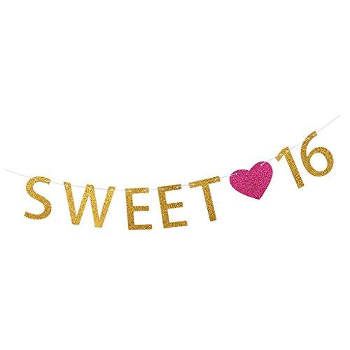 (magideal 2m 16. Happy Birthday Girlande Mädchen Sweet 16Buchstaben rose Herz Party Sixteen Gold Banner Dekoration zum Aufhängen)