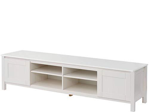 TV-Bank Lowboard 2 Türen Fernsehschrank Fernsehtisch Wohnzimmer Kiefer Massivholz (weiß, Breite 180 cm)