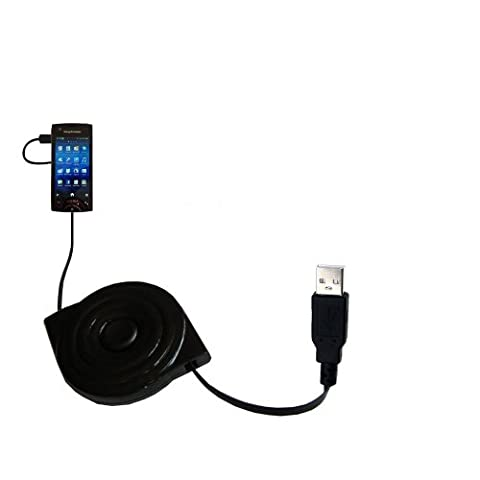 compact and retractable USB Power Port Ready charge cable designed for the Sony Ericsson ST18i and uses