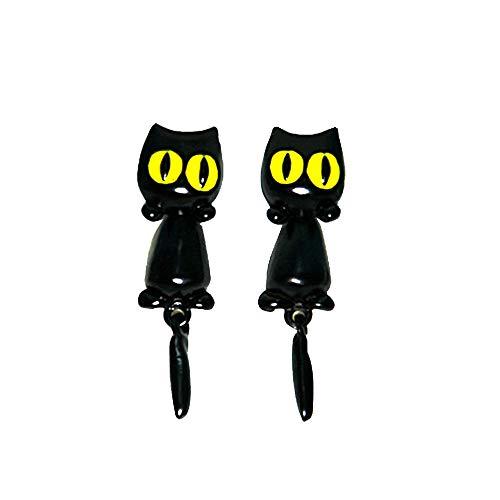 Gato Mujer stud Joyas pendientes, Pendiente de gatito negro hecho a mano para mujeres niñas con caja de regalo Halloween Navidad