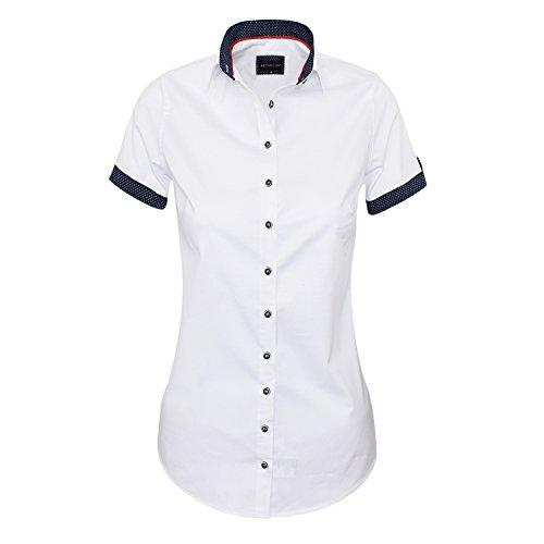 HEVENTON Bluse Damen Kurzarm in Weiß - Hemdbluse - Größe 34 bis 50 - Elegant und Hochwertig Größe 38