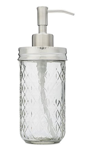 Jarmazing Products Mason Jar Soap Dispenser - Stainless Steel - With 12 Ounce Quilted Clear Jar