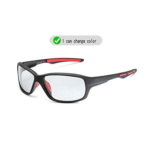 Vikimen Sportbrillen, Angeln Golfbrille,NEW Brand Photochrom Sunglasses Men Polarisiert Chameleon Discoloration Sun Glasses Outdoors Square Driving Men Accessories B1009red legs