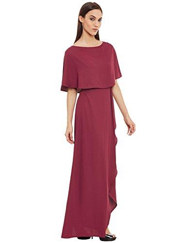 Femella Fashion's Maroon Front Slit Maxi Dress( DS-2171124-1336-MAR-M )