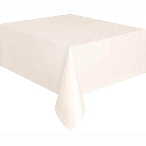 Unique Party Supplies Kunststoff-Tischdecke, 2,74 x 1,37 m, elfenbeinfarben, Einheitsgröße