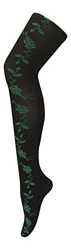 sock snob - Damen undurchsichtig Gemustert farbig Winter 80 den Strumpfhose in Verschiedenen Farben größe 36-42 eur (36-42 eur, Schwarz/Grün Blumen) Side (Damen Poison Kostüm Ivy)