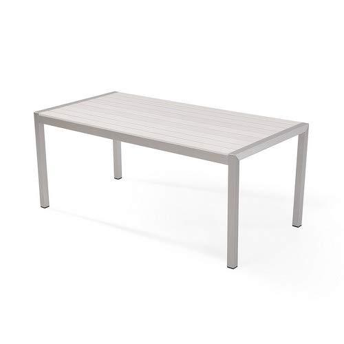 Beliani Gartenmöbel Set Kunstholz weiß 6-Sitzer VERNIO