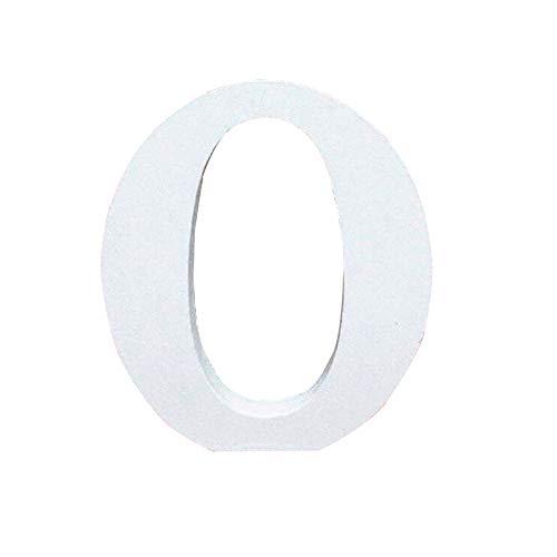 Lettres en Bois, Toifucos 10cm A-Z DIY Alphabet Anglais Ornaments D'artisanat pour Accueil Mariage Anniversaire Décoration de fête Accessoires, Blanc 1 pcs O