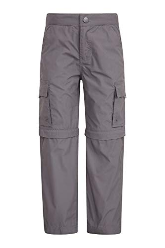 Mountain Warehouse Active Zip-Off-Hose Für Kinder - Leichte Kinderhose, schnelltrocknende Hose, Taschen, Pflegeleichte Freizeithose - Für Camping, Reisen, Frühling Dunkelgrau 152 (11-12 Jahre)
