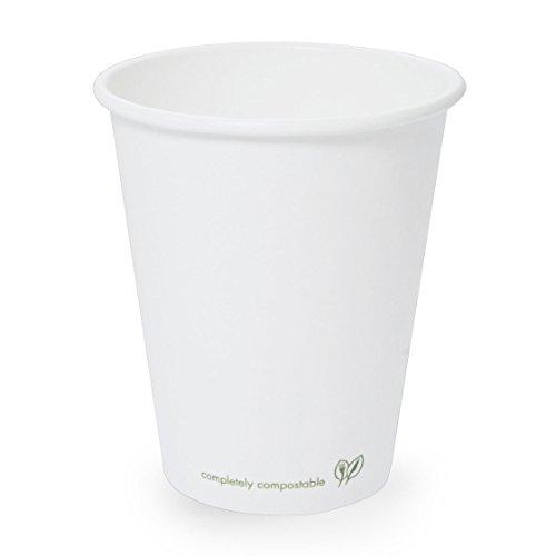Plantvibes ® 50 Bio Kaffeebecher | edel & umweltfreundlich · zu 100% kompostierbar| Pappbecher für Heißgetränke | Coffee to go Becher (200ml, Weiß (50 Stück))