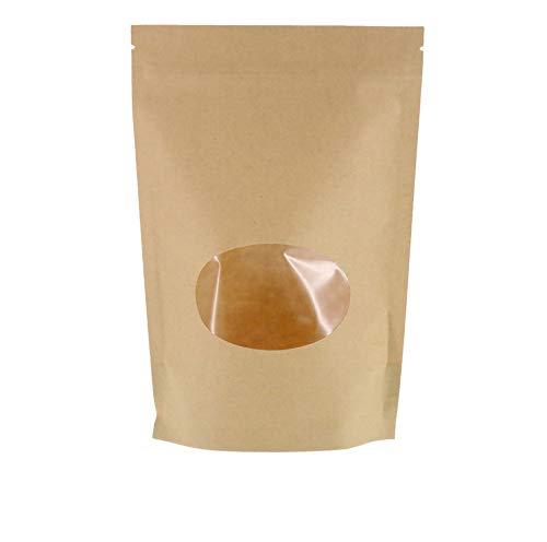 SumDirect 50 pezzi sacchetti zip carta Kraft a chiusura di cerniera, sacchetti di carta richiudibili sigillati Stand-up con finestra trasparente per deposito, biscotti, cibi secchi, snack (11 x 16