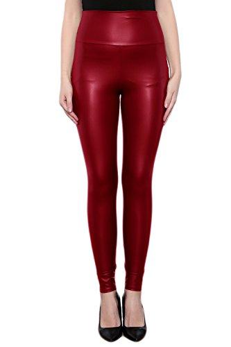 SodaCoda Damen Sexy Kunst-Leder Leggings - Hohe Taille Wet-Look (Red, L)