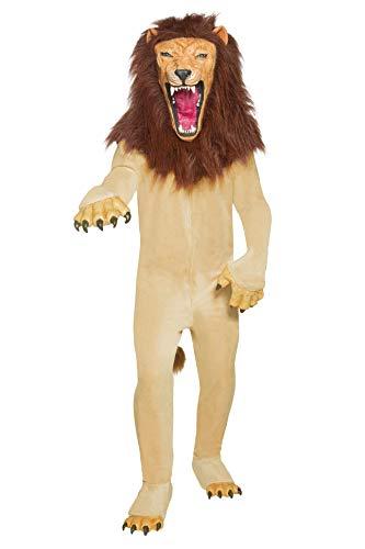 Smiffys, Herren Böser Zirkuslöwe Kostüm, Jumpsuit mit Händen, Maske und Überschuhe, Größe: M, 34286