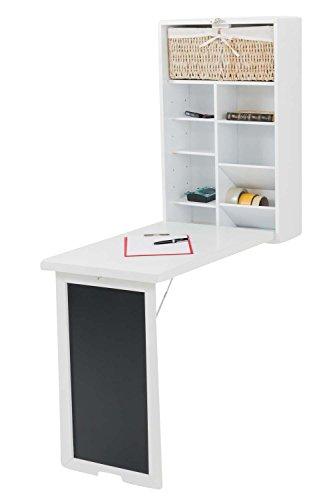 CLP Wand-Klapptisch mit Tafel MARLA, für die Küche, Holz Schreibtisch, Platzwunder für kleine Räume Weiß (Wand-schreibtisch)