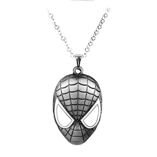 XXW Super Hero DC Hot Die Ultimative Spiderman Maske Halskette Mann Personalisieren Anhänger Halsketten Lange Kette Colar Schmuck (Halloween-kostüme 30 Ultimative)