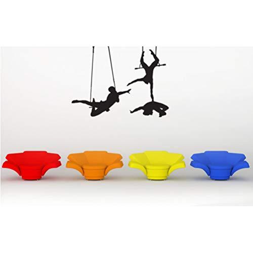 Trapeze Künstler Spielen Silhouetten Kunst Wandtattoos Trapeze Cirque Soleil Circus Wandaufkleber Zirkus Room Art Decor 56 * 74Cm