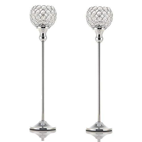 VINCIGANT Silber Kristall Kerzenständer Set für Hochzeits dekor Wohnzimmer Dekoration,45cm&45cm Höhe -