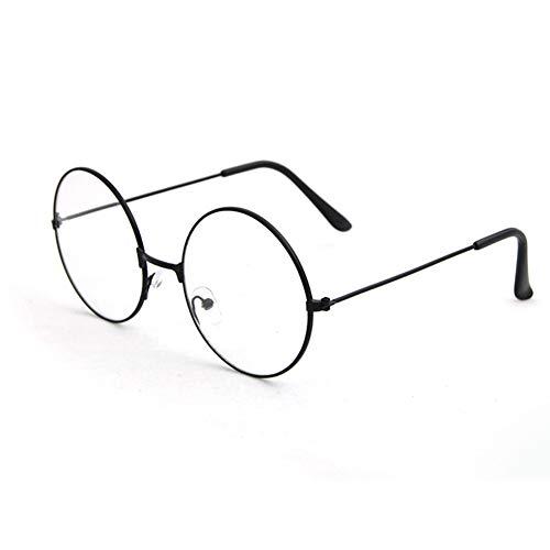 Man9Han1Qxi Retro Style Vintage Frauen Männer Runde Kreis Metall Brillen Optische Gläser Brillengestell Black