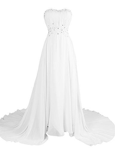 Dresstells Damen Abendkleid Lang Chiffon Schulterfrei Ballkleid DT90628 Elfenbein