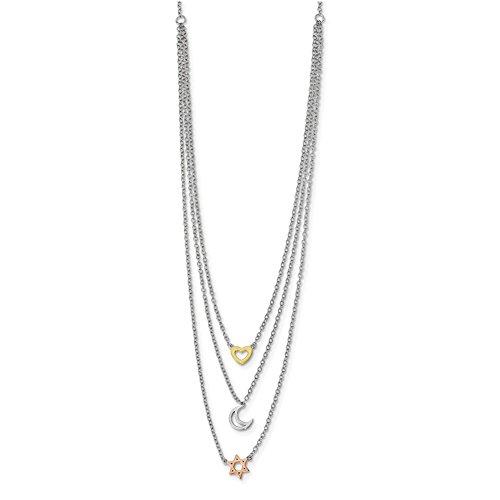 Lex & Lu Sterling Silber W/Rhodium Gold & Rose-Tone Sun Moon Star Halskette 40,6cm