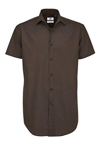 BCSMP22 Poplin Shirt Black Tie Short Sleeve Coffee Bean